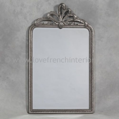 Antique Silver Wall Mirror with Plume Crest